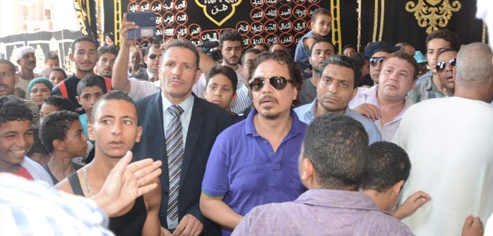 محمد رياض في جنازة نور الشريف