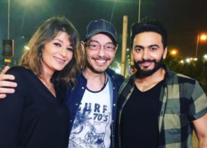 تامر حسني وأحمد زاهر وزوجته