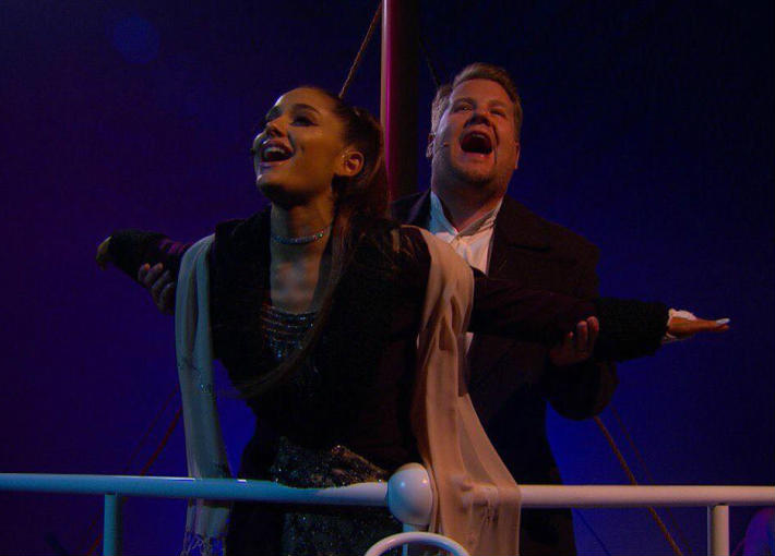 بالفيديو- أريانا جراندي وجيمس كوردن يعيدان إحياء Titanic ويغنيان My Heart Will Go On