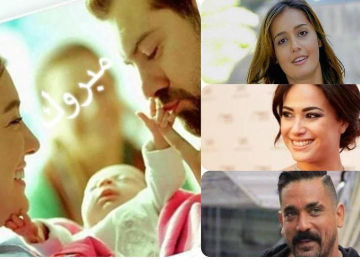 نجوم الوسط الفني يهنئون عمرو يوسف وكندة علوش على ابنتهما
