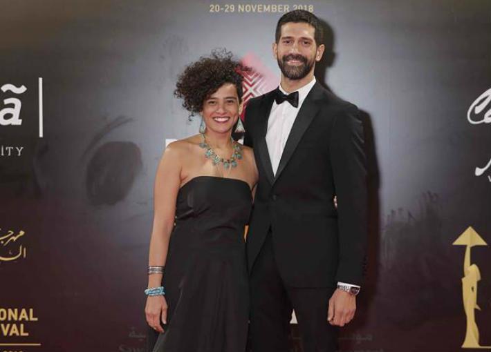 أحمد مجدي وزوجته على السجادة الحمراء