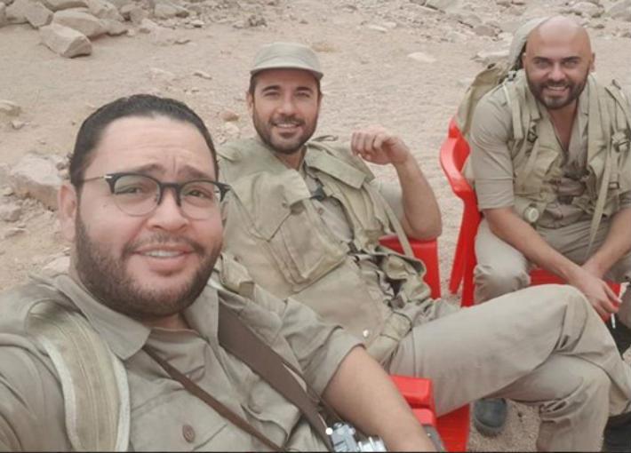 أحمد رزق وأحمد عز في كواليس فيلم الممر