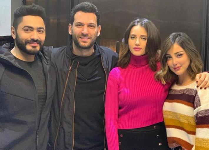 مراد يلدريم وتامر حسني وبسمة بوسيل وإيمان الباني