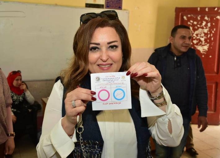 نهال عنبر في الاستفتاء على تعديلات الدستور 2019