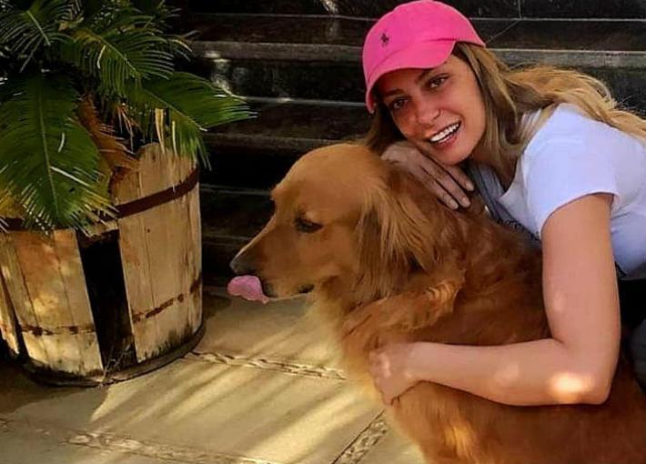 ريم مصطفى وكلبها