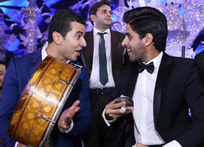 حمدي الميرغني ومحمد أنور بزفاف أحمد فهمي وهنا الزاهد