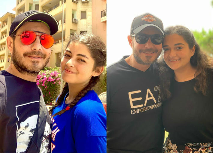 أحمد زاهر وابنتيه ليلي وملك