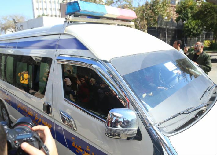 سيارة نقل جثمان الفنانة نادية لطفي