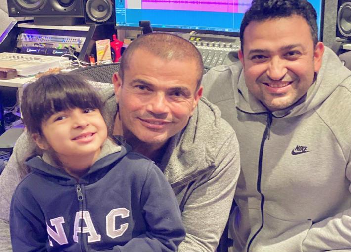 عمرو دياب مع تامر حسين وابنته