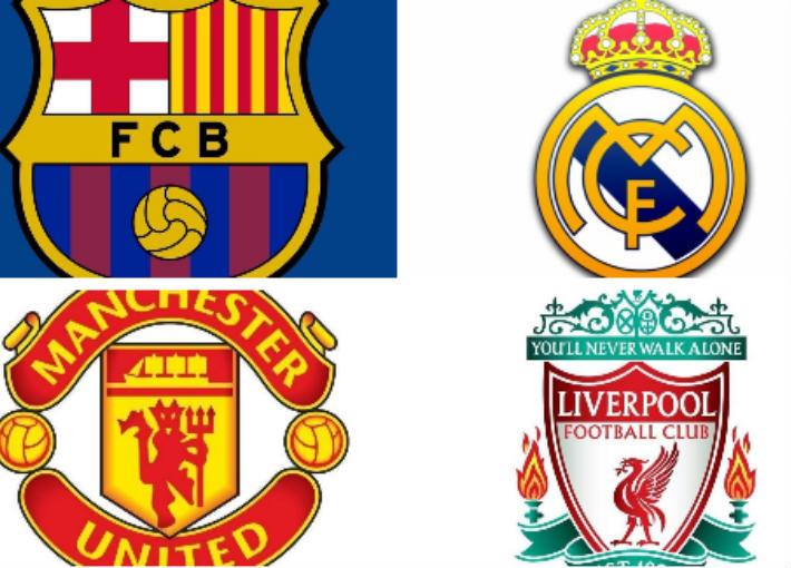 ريال مدريد وبرشلونة وليفربول ومانشستر يونايتد