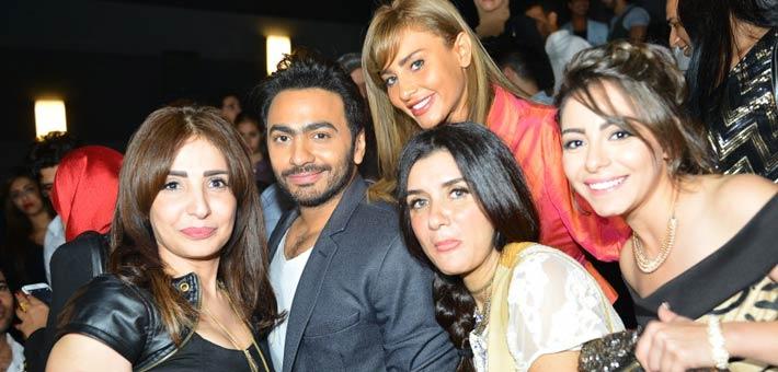 تامر حسني يحتفل بطرح أحدث أفلامه أهواك بحضور عزت أبو عوف ومي عز