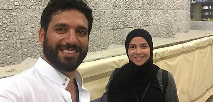 حسن الرداد أثناء أداء مناسك الحج مع زوجته إيمي سمير غانم