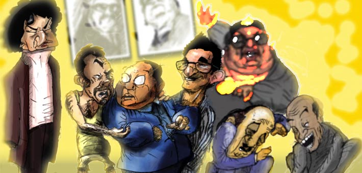 """رسمة كاريكاتيرية لشخصيات فيلم """"الناظر"""""""