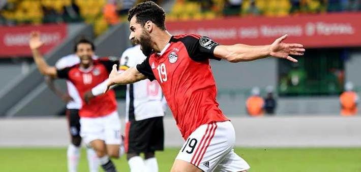 لاعبو المنخب المصري يحتفلون بالفوز