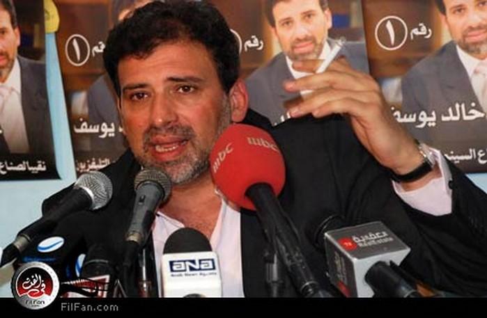 خالد يوسف أثناء المؤتمر الصحفي