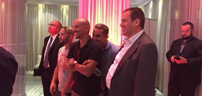 باسم يوسف وخالد منصور وشادي ألفونس في مؤتمر OSN