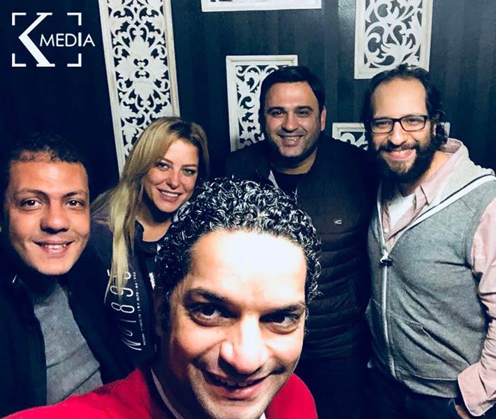 ريم مصطفى مع أحمد أمين وأكرم حسني والمخرج خالد الحلفاوي والمنتج كريم أبو ذكري