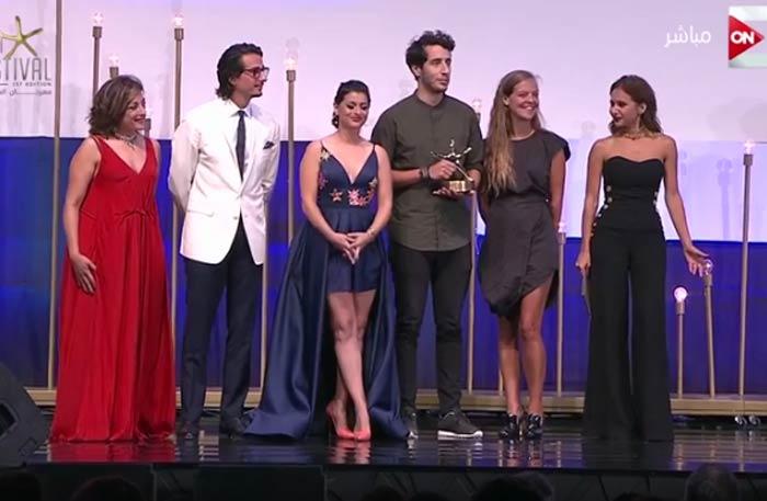 فريق عمل فيلم Punchline الفائز بجائزة أفضل فيلم قصير عربي