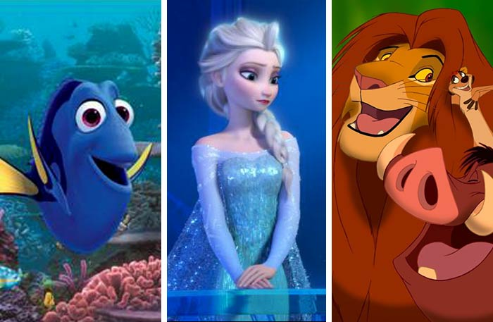 The Lion King   وFrozen وFinding Dory