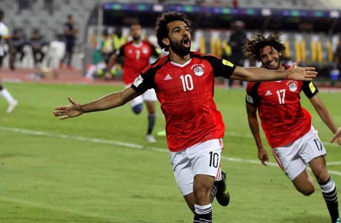 محمد صلاح بعد إحراز هدف مصر
