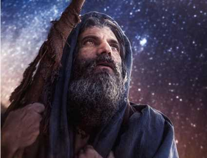 نيقولا معوض في دور النبي ابراهيم في أول ادواره في السينما العالمية