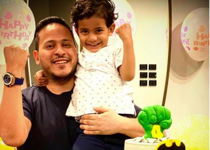 صورة- كريم عفيفي يحتفل بعيد ميلاد ابنه