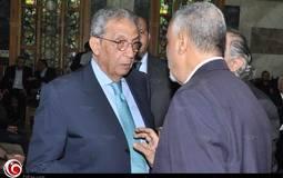بالصور: عمرو موسى وحمدين صباحي في عزاء فتحية العسال