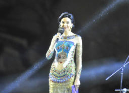جاسمين طه في حفل افتتاح مهرجان الأقصر بفستان لونه وخاماته غير موفقين، ونقوشات رأس نفرتيتي ليست موفقة أيضا.