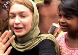9 صور- جيجي حديد تزور مخيم لاجئي الروهينجا المسلمين في بنجلاديش