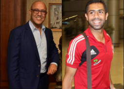 """بالفيديو- أشرف عبد الباقي يستقبل اللاعب أحمد فتحي في مسرحية """"جريما في المعادي"""""""