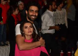 كارمن سليمان وزوجها مصطفى جاد في حفل محمد رمضان