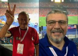 صور- عمرو الليثي وساويرس بالمدرجات لدعم المنتخب المصري