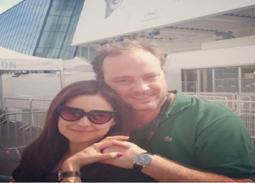 صورة- ريا أبي راشد وزوجها بالبيجاما