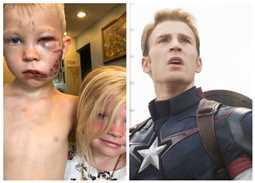 """""""كابتن أمريكا"""" يكافئ الطفل الشجاع الذي أنقذ شقيقته من هجوم الكلب"""