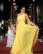 لون الفستان مناسب لبشرة أمينة خليل وتصميمه يناسب قوامها، وجاء شعرها مميزاً