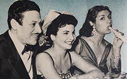 """صور نادرة لاحتفال الفنانين """"برأس السنة"""" عام 1956.. قبلة تحية كاريوكا ونكتة فريد الأطرش"""