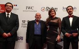 """أبطال فيلم """"قبل زحمة الصيف"""" هنا شيحة وأحمد داود والمخرج محمد خان وماجد الكدواني. والذي سيُعرض للمرة الأولى في مهرجان دبي السينمائي 2015"""