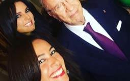 نجمات تونس مع الرئيس الباجى قايد السبسى
