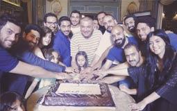 """صورة- محمود حميدة يحتفل بـ""""الأب الروحي"""""""