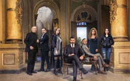 """صورة جماعية لأبطال مسلسل """"ظل الرئيس"""": ياسر جلال، هنا شيحة، علا غانم، دينا فؤاد، محمود عبد المغني،  عزت أبو عوف."""