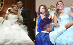بالصور- مي كساب ترتدي فستانين في حفل زفافها.. أيهما أجمل؟