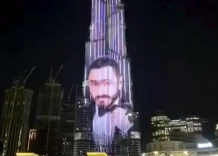 """""""تعالولي على تيك توك""""..تامر حسني يخاطب جمهوره من على برج خليفة"""