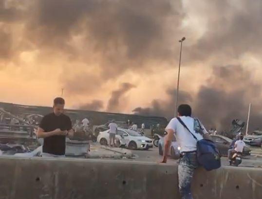فيديو- آروى تصور أثار تدمير إنفجار بيروت